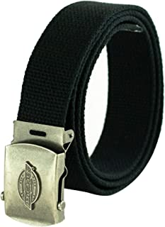Dickies Men's Cotton Web Belt with Military Logo Buckle