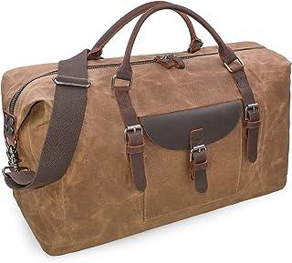 NEWHEY Reisetaschen Herren Leder Wasserdicht Canvas Weekender Tasche Großen Kapazität Reisetasche Unisex Vintage Handgepäck Bag Braun