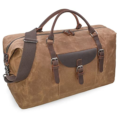 Oversized Travel Duffel Bag Waterproof Canvas Genuine Leather Weekend bag  Weekender Overnight Carryon Hand Bag Brown 0b3fc05e329ec