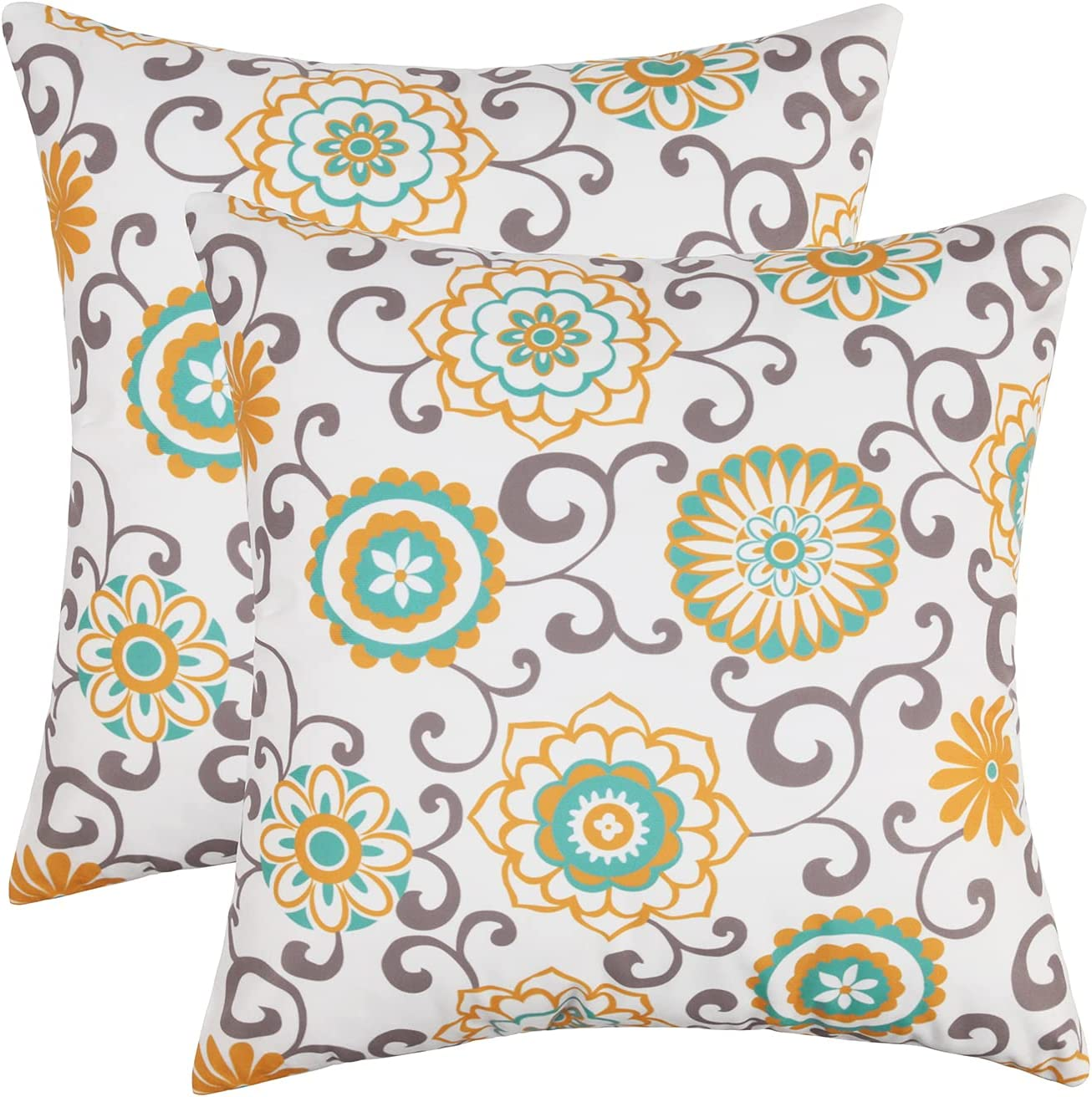 Adabana Max 80% OFF Flower Throw Pillow Covers 18x18 Set 2 Floral of Sale SALE% OFF