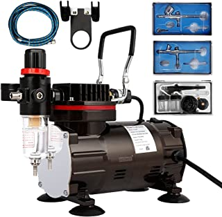 VIVOHOME 110-120V Professional Airbrushing Paint System with 1/5 HP Air Compressor and 3 Airbrush Kits for Tattoo Makeup S...