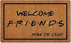 Welcome Friends How You Doin Funny Housewarming Gift Doormat Home Office Decor Entry Rug Garden Kitchen Bedroom Indoor Outdoor Non-Slip Rubber Durable Door Floor Mat Doormats 23.6
