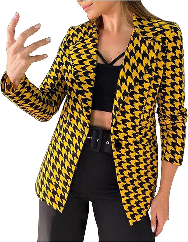 Blazer Jacket for Women Trendy Print Business Suit Casual Open Front Work Office Coats Long Sleeve Cardigans Outwear