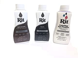 Rit Dye Liquid Fabric Dye, 8 fl oz (Combo, Dark Brown/Black/Fixative)