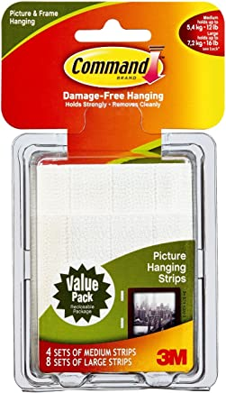 3M Command Picture Hanging Strips – Removable Hanging Strips for Large Picture Frames – Value Pack - 4 Pairs (Medium), 8 Pairs (Large)