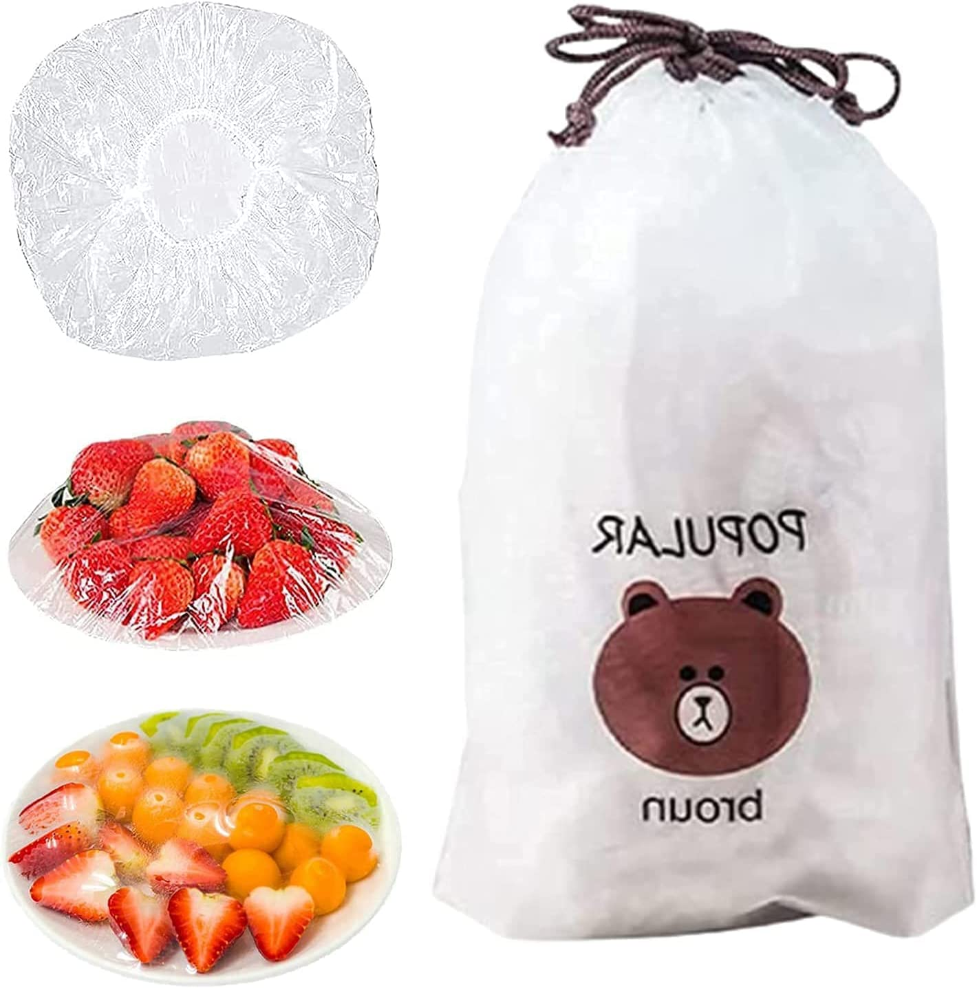 100PCS Fresh Keeping Bags,Reusable Elastic Food Storage Covers, Plastic Bowl Covers with Elastic Edging Stretch Plastic Wrap Bowl Covers