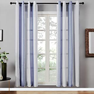 Top Finel Sheer Curtains 84 Inches Long for Bedroom Living Room Navy Blue Vertical Striped Grommet Yarn Dyed Window Curtains, 2 Panels