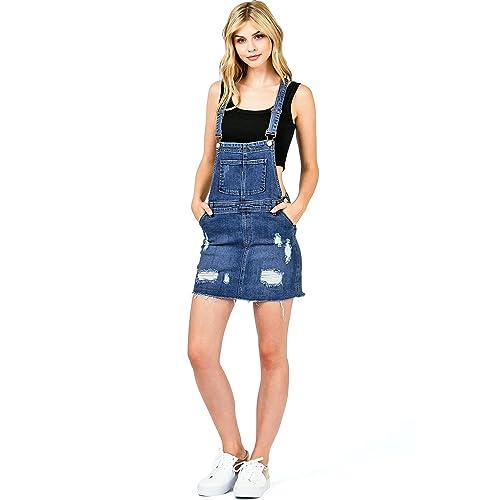 28e880744 I & M Women's Juniors Distressed Denim Overall Dress