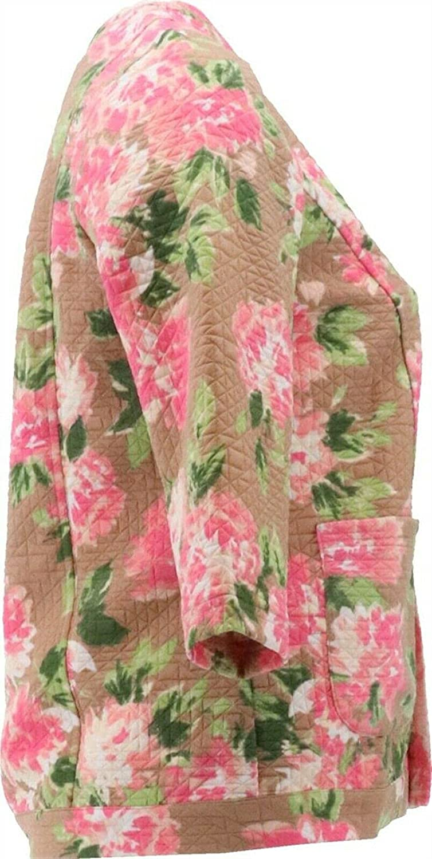 Isaac Mizrahi Floral Print Diamond Quilted Knit Jacket A379430