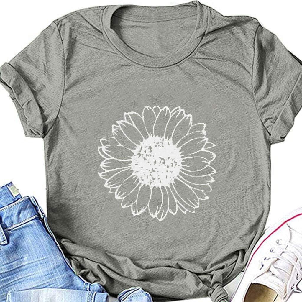 Shirts for Women,Womens Short Sleeve Crewneck Loose Summer Casual Dandelion Sunflower Printed Graphic Tee T-Shirt