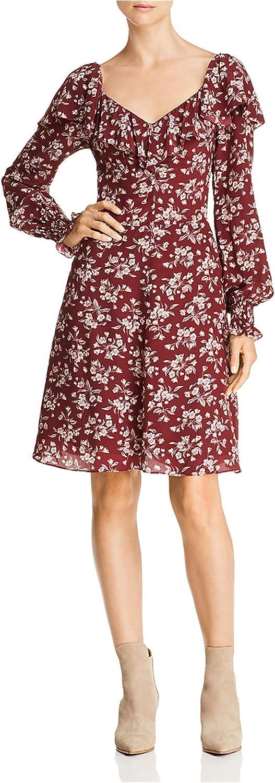 Rebecca Taylor Womens Tilda Ruffled Dress, Red, 2