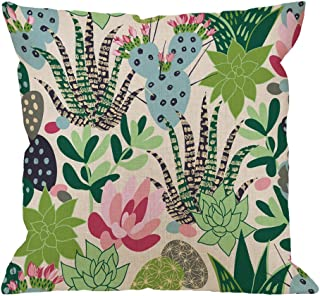 HGOD DESIGNS Cactuses Decorative Throw Pillow Cover Case,Succulents and Cactuses Cotton Linen Outdoor Pillow cases Square Standard Cushion Covers For Sofa Couch Bed 18x18 inch Green Pink