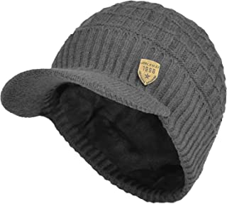 Sports Winter Outdoor Knit Visor Hat Billed Beanie with Brim Warm Fleece Lined for Men and Women