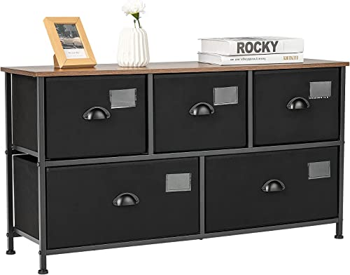 lowest Giantex Drawer Storage Dresser, Wide Storage Organizer Unit with Labels, new arrival Steel lowest Frame & 5 Removable Fabric Bins, Vertical Dresser Tower for Living Room, Bedroom, Closet, Entryway, Office (Black) online