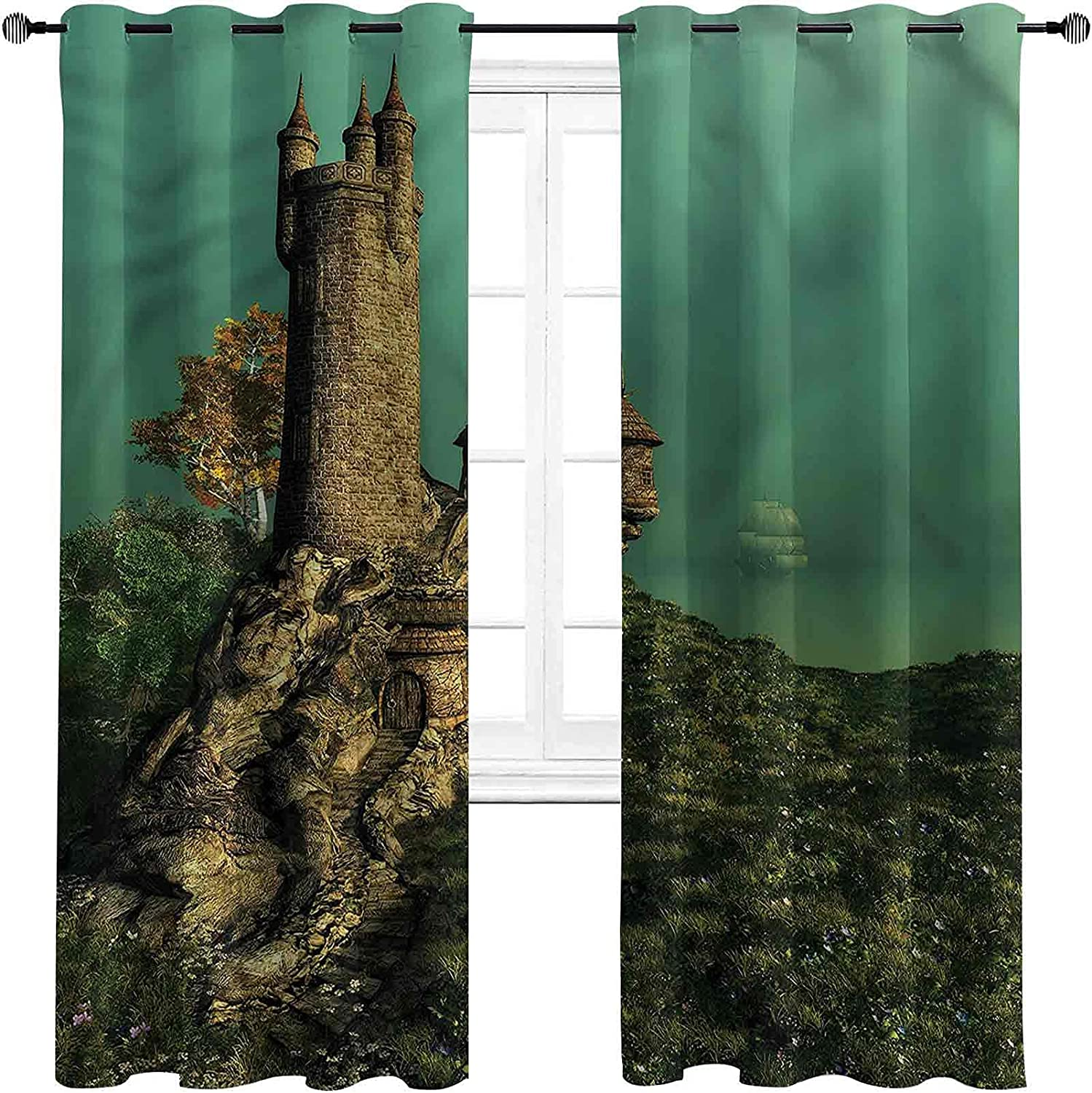 Medieval Bedroom Blackout Curtains Tower on of Magician Max 74% OFF Latest item Hill F