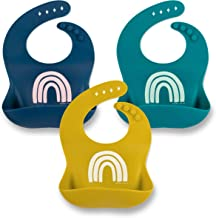 Simka Rose Silicone Baby and Toddler Bibs - Minimalist Unisex Bib for Girls and Boys - Modern, Soft, Easy to Clean - Excellent Baby Shower Gift (Gold/Navy/Emerald)