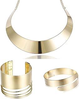 Hanpabum Statement Choker Necklace Open Upper Arm Band and Cuff Bracelets Set for Women Girls Gold Tone Wristband Women Jewelry Set Adjustable