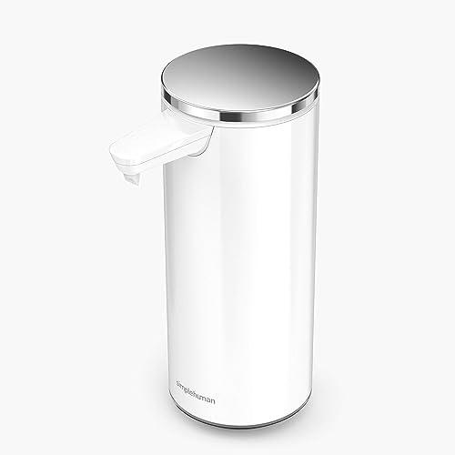 simplehuman 9oz. Rechargeable Sensor Liquid Soap Dispenser, White Stainless Steel