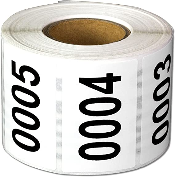 Black//White 500//Roll Tape Logic Consecutive Numbered Labels, 0001-0500 1 x 1 1//2