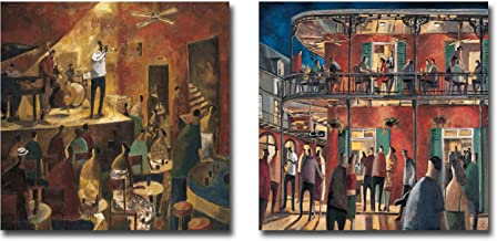 Red Jazz & New Orleans Street by Didier Lourenco 2-pc Premium Gallery-Wrapped Canvas Giclee Art Set (18 in x 18 in Each Canvas Giclee in Set, Ready-to-Hang)