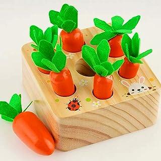 Coriver Pedagogiska leksaker stapel spel för 1 2 3 år gammal baby, morötter träleksak Montessori Plugging Toys Harvest mat...