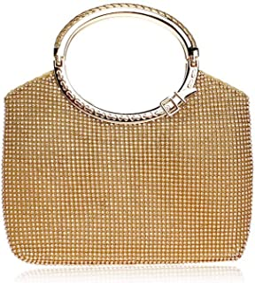 Shoulder Bag Europe and America Diamond Bag Handbag Banquet Dress Evening Bag Evening Package Handbag Clutch (Color : Gold)