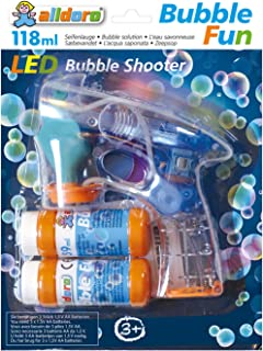alldoro 60625 Fun Gun with 2 x 59 ml Solution, with Light and Sound Effect, Bubble LED Pistol
