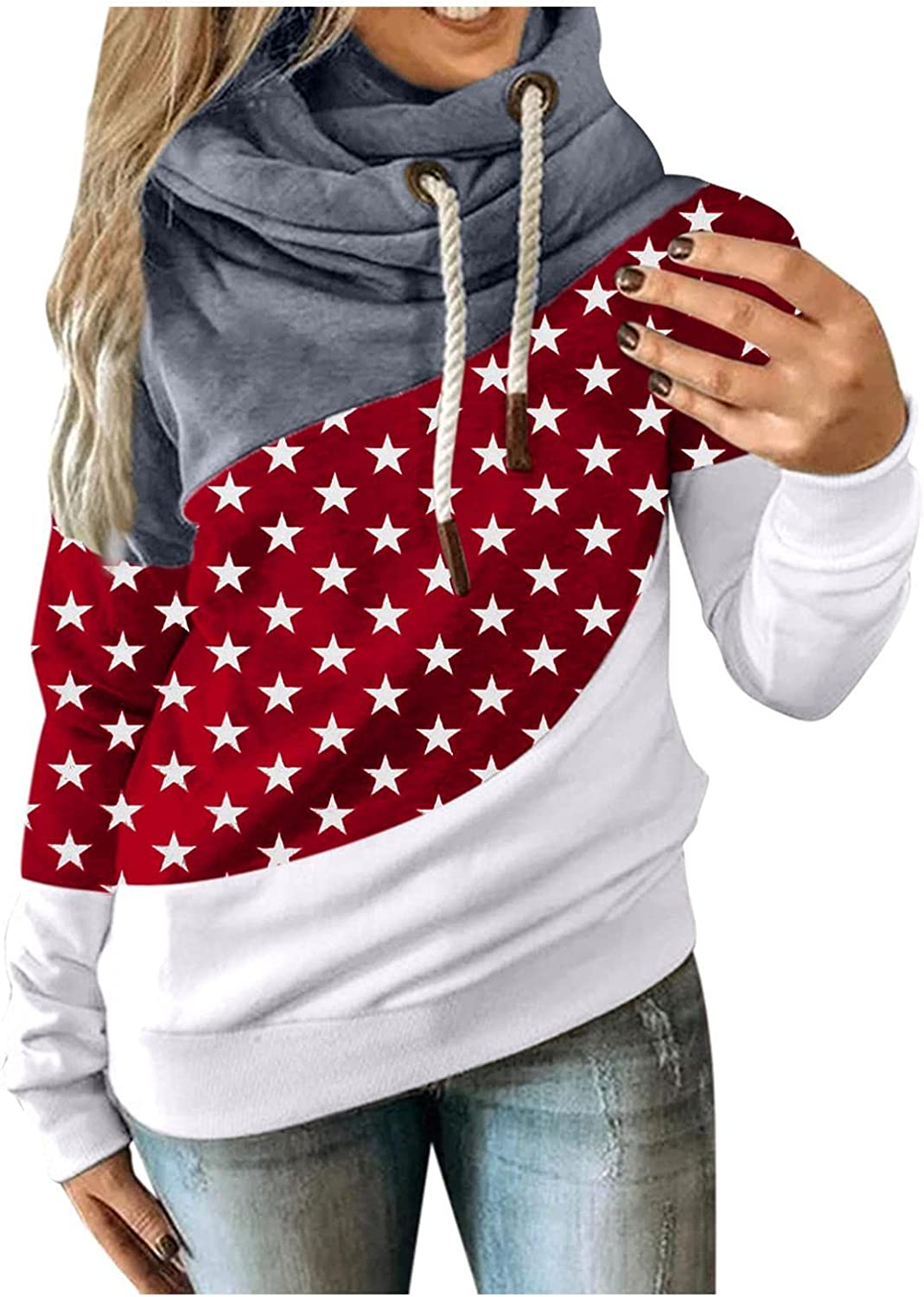 POLLYANNA KEONG Womens Hoodies Plus Size Color Block Long Sleeve Graphic Sweatshirts Casual Pullover Tops Blouse