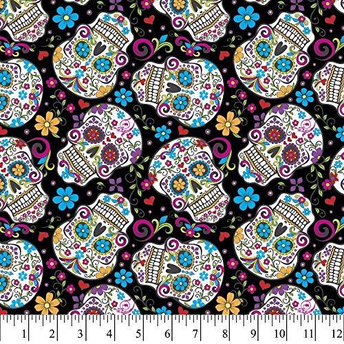 David Textiles Sugar Skulls Folkloric Black Cotton Fabric by The Yard
