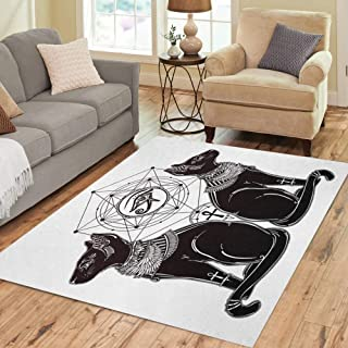 Semtomn Area Rug 5' X 7' Gothic Devil Imp Like Cat Head Portrait with Curly Home Decor Collection Floor Rugs Carpet for Living Room Bedroom Dining Room