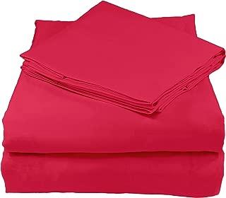 Whisper Organics 有机床单套装 由 GOTS 认证的有机认证 - 道德制造 200 支柔软棉床单 - *佳床单套装 莓红色 Queen