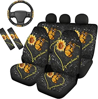 HUGS IDEA Combo Seat Covers Combo Set with Steering Wheel Cover and Seat Belt Pads, Front Rear Seats Protectors for Women Men Gifts, Sunflower Butterfly