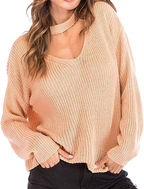 T Shirts For Women Fashion Women Solid O Neck Halter Long Sleeve Knitted Sweater Causal Top