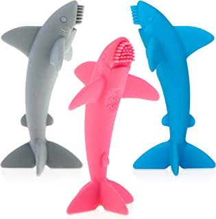 Nuby Grooming Lil Shark Massaging Toothbrush, Colors May Vary, 1pk, 5