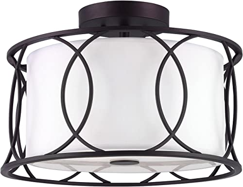 lowest CANARM ISF320A02ORB Monica 2 Bulb outlet sale discount Semi-Flush Mount with White Fabric Shade, Oil Rubbed Bronze outlet online sale