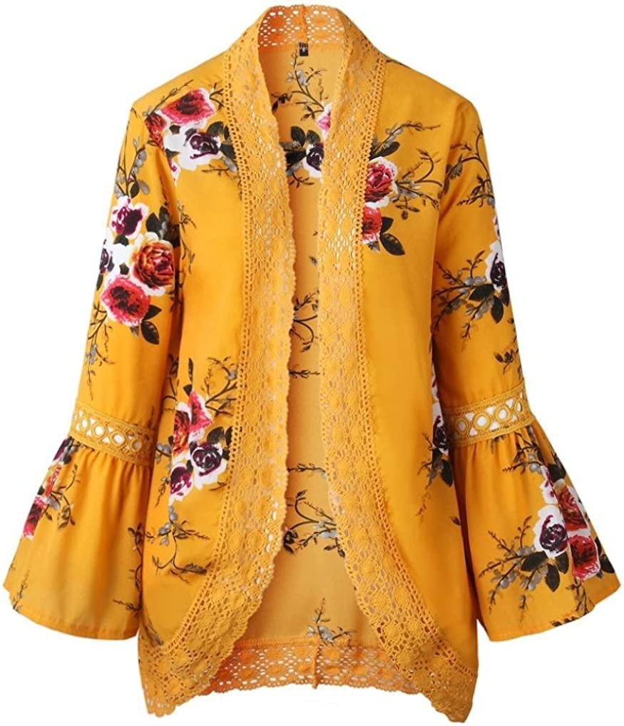 Women Lace Floral Open Cape Casual Coat Blouse Kimono Jacket Cardigan