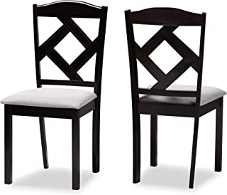 Baxton Studio Dining Chairs, Grey/Espresso Brown, One Size