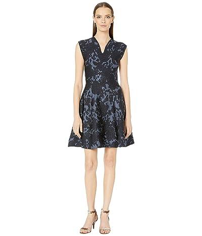Zac Posen Floral Jacquard Dress (Blue/Grey/Midnight) Women