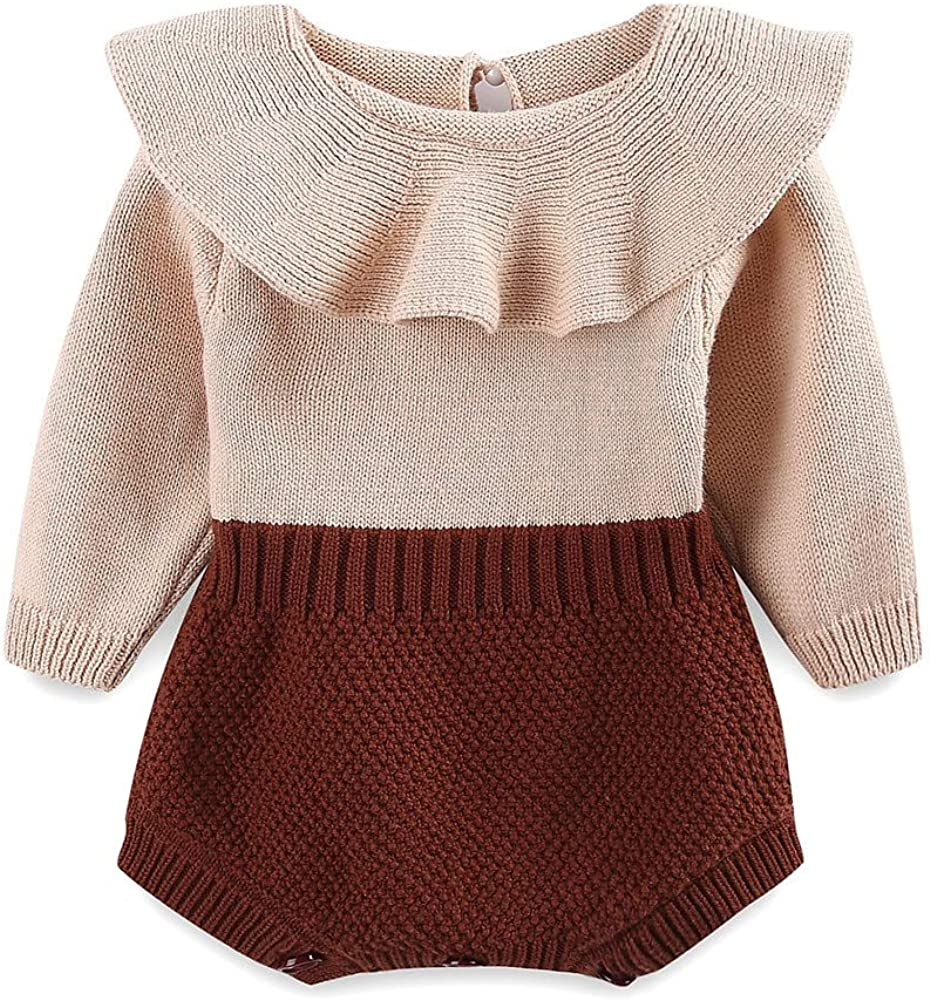 LittleSpring Baby Super Special SALE held Girls Knit Denver Mall Romper Sweet Ruffle Long Bod Sleeve
