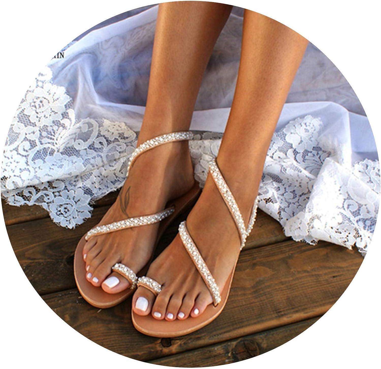 Efficiency 2019 Summer Flat Sandals Women's shoes Toe Rhinestone Pearl Beach shoes Bohemian Plus Size 35-43