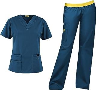 WonderWink Origins Women's Scrub Set Bundle- 6016 Bravo Top & 5016 Quebec Cargo Pant & Marc Stevens Badge Reel