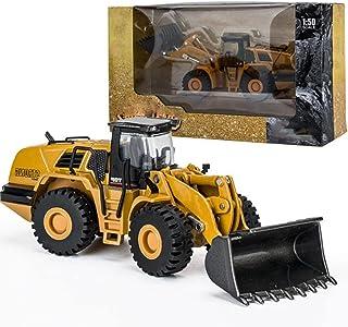 Bulldozer Toy Alloy Front Loader Backhoe Excavator Model Toy 1/50 Scale Truck Model Die-Casting Metal Excavator Loader Tru...