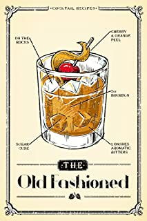 Prohibition - Cocktail Recipe - Old Fashioned (9x12 Art Print, Wall Decor Travel Poster)