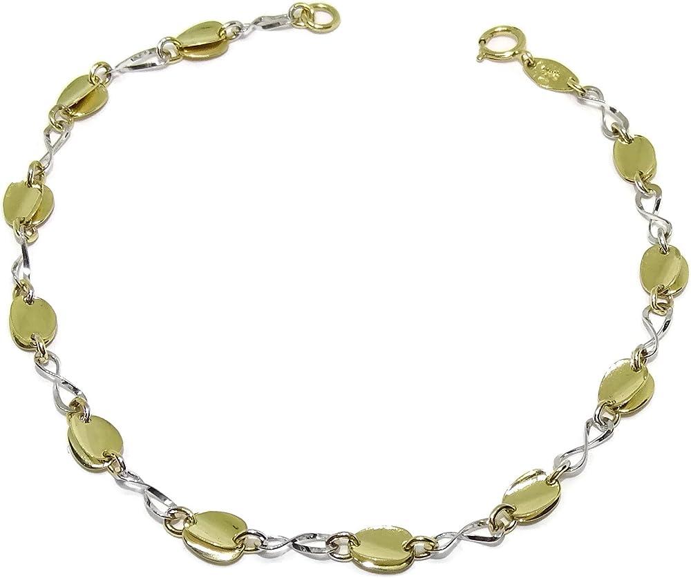 Never say never, bracciale per donna in oro bianco e giallo(2,75) 94008215bic