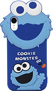 iPhone XR Case, MC Fashion Cute 3D Cartoon Sesame Street Case for Girls Boys Women Men, Shockproof and Protective Soft Silicone Cover for Apple iPhone XR (2018) 6.1-Inch (Blue/Cookie Monster)