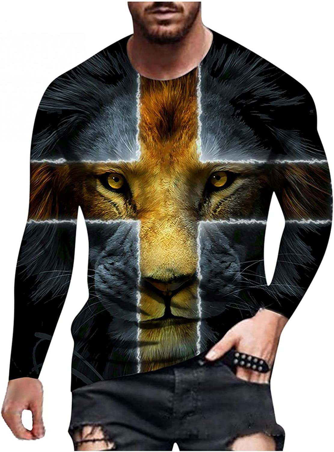 Aayomet Men's T Shirts Vintage Graphic Long Sleeve Round Neck T-Shirt Casual Sport Workout Athletic Tee Tops Shirts