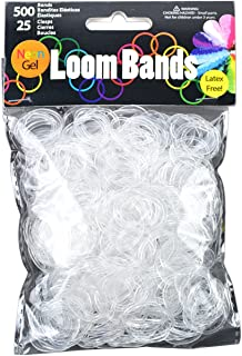 Touch of Nature Neon Gel Loom Bands, 500 Bands and 25 Plastic Clasps, Clear