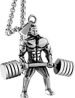 Aienid Fitness Male Hercules Barbell Weightlifting Pendant Necklace with 55CM Free Chain for Mens