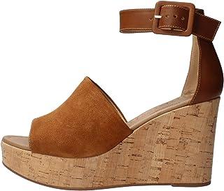 Sandalo da Donna NeroGiardini in Pelle Tabacco o Castoro E012411D. Scarpa dal Design Raffinato. Collezione Primavera Estat...
