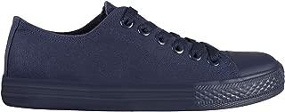 KRISP Women Plain Canvas Low Top Trainers Fashion Lace Up Sneaker Pumps Flat Shoes